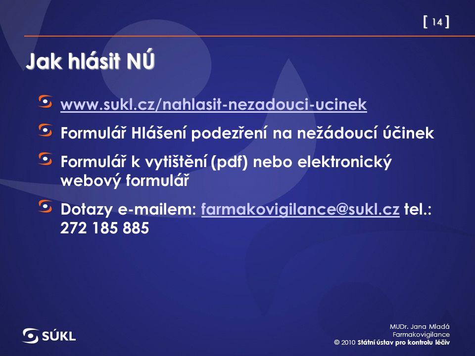 [ 14 ] MUDr. Jana Mladá Farmakovigilance © 2010 Státní ústav pro kontrolu léčiv Jak hlásit NÚ www.sukl.cz/nahlasit-nezadouci-ucinek Formulář Hlášení p