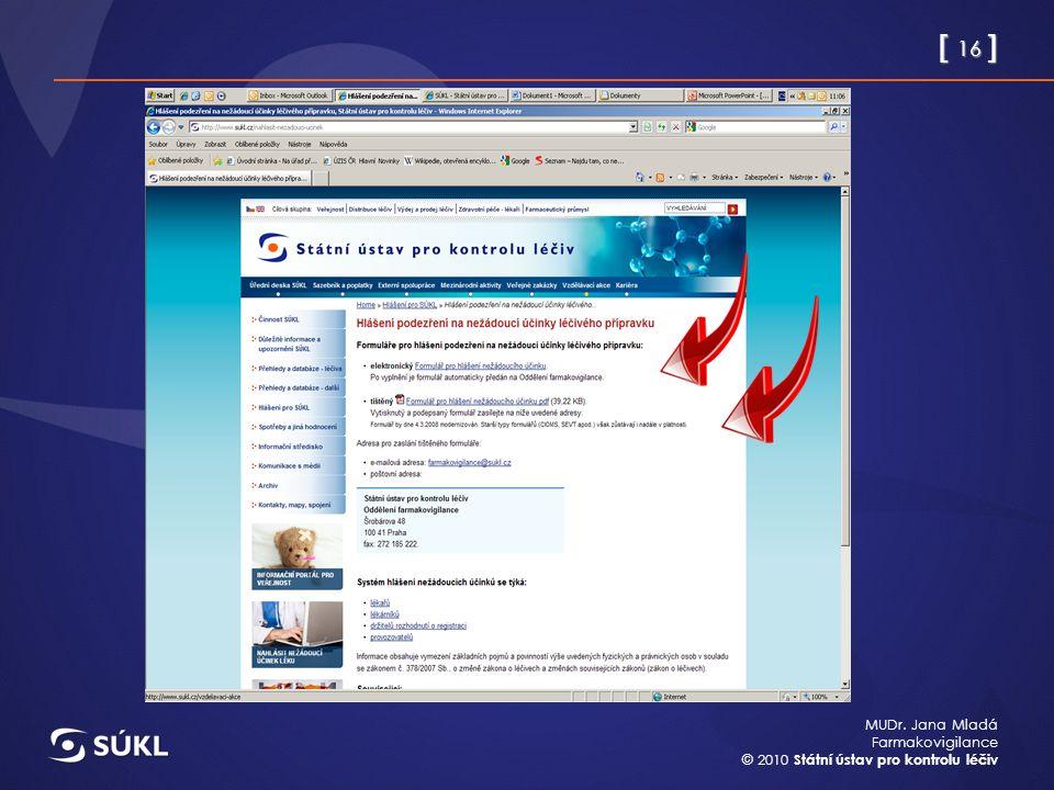 [ 16 ] MUDr. Jana Mladá Farmakovigilance © 2010 Státní ústav pro kontrolu léčiv