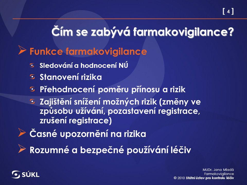 [ 4 ] MUDr. Jana Mladá Farmakovigilance © 2010 Státní ústav pro kontrolu léčiv Čím se zabývá farmakovigilance?  Funkce farmakovigilance Sledování a h