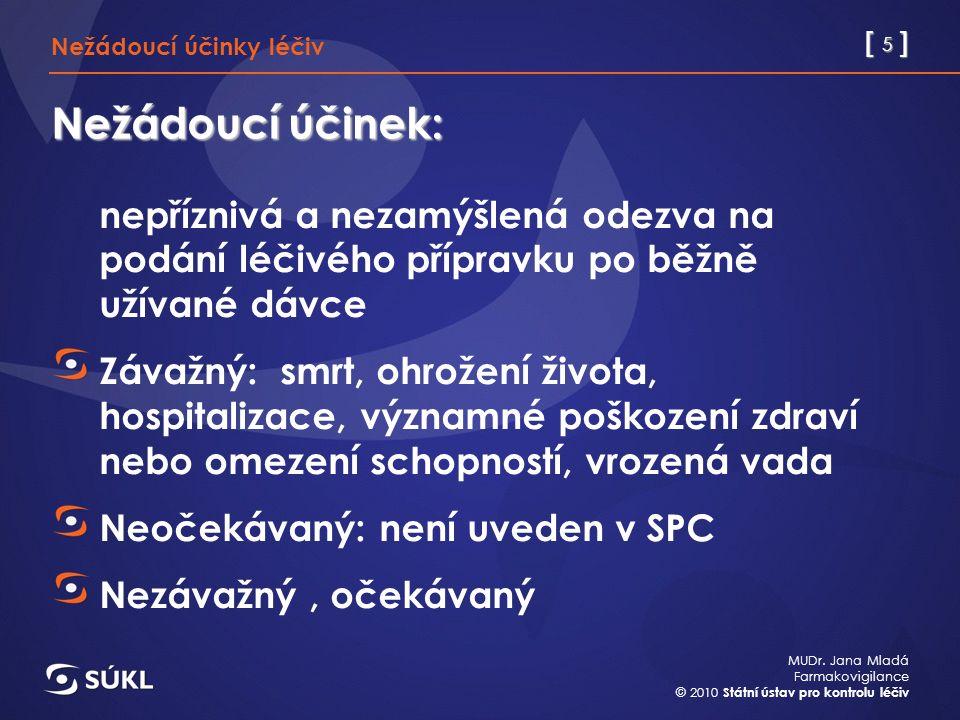 [ 5 ] MUDr. Jana Mladá Farmakovigilance © 2010 Státní ústav pro kontrolu léčiv Nežádoucí účinek: nepříznivá a nezamýšlená odezva na podání léčivého př