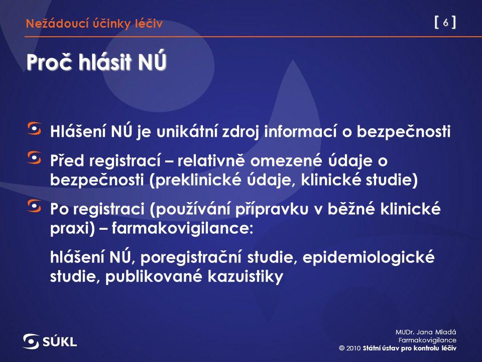 [ 6 ] MUDr. Jana Mladá Farmakovigilance © 2010 Státní ústav pro kontrolu léčiv Proč hlásit NÚ Hlášení NÚ je unikátní zdroj informací o bezpečnosti Pře