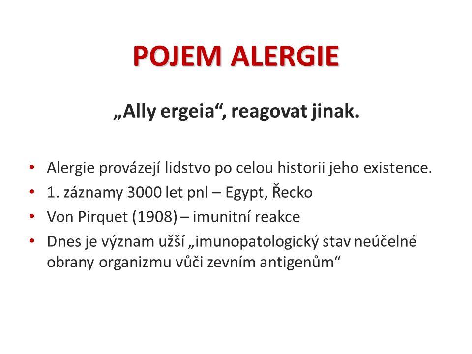 """POJEM ALERGIE """"Ally ergeia"""", reagovat jinak. Alergie provázejí lidstvo po celou historii jeho existence. 1. záznamy 3000 let pnl – Egypt, Řecko Von Pi"""