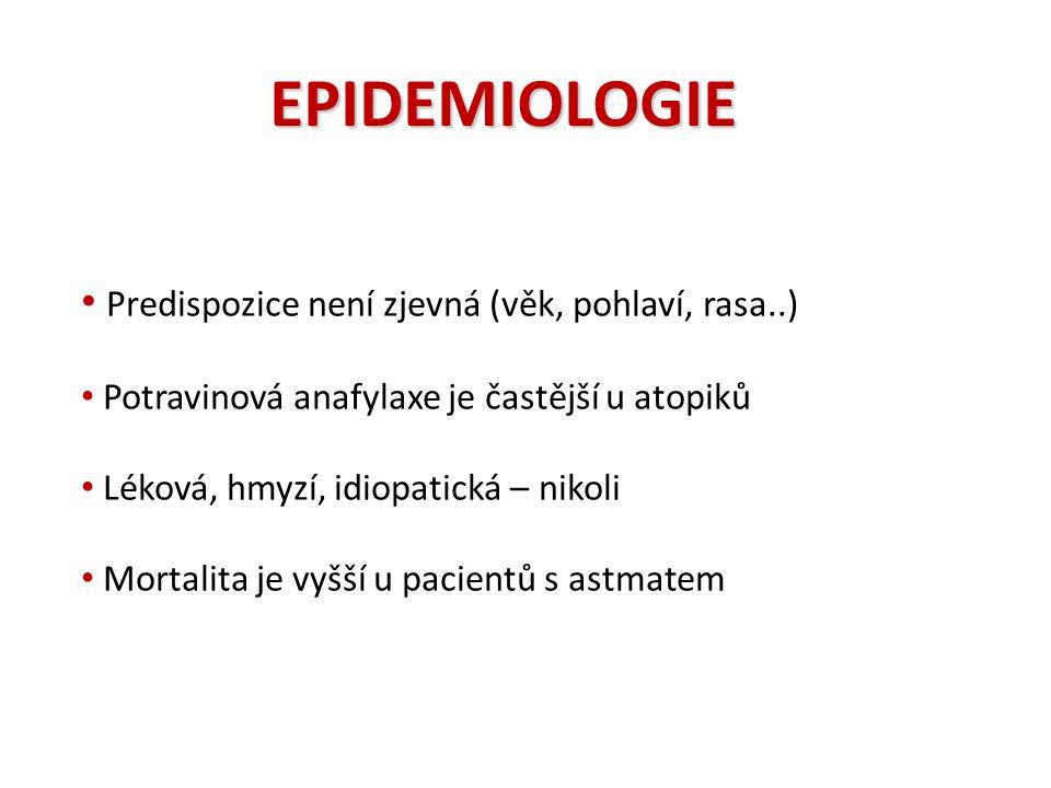 EPIDEMIOLOGIE Predispozice není zjevná (věk, pohlaví, rasa..) Potravinová anafylaxe je častější u atopiků Léková, hmyzí, idiopatická – nikoli Mortalita je vyšší u pacientů s astmatem