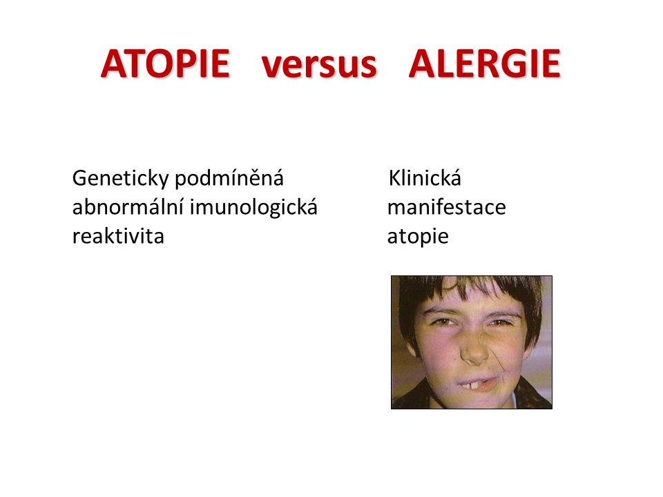 ATOPIE versus ALERGIE Geneticky podmíněná abnormální imunologická reaktivita Klinická manifestace atopie