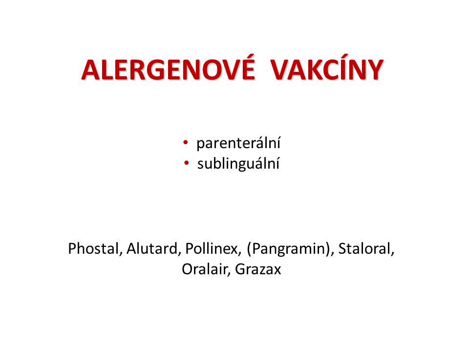 ALERGENOVÉ VAKCÍNY parenterální sublinguální Phostal, Alutard, Pollinex, (Pangramin), Staloral, Oralair, Grazax