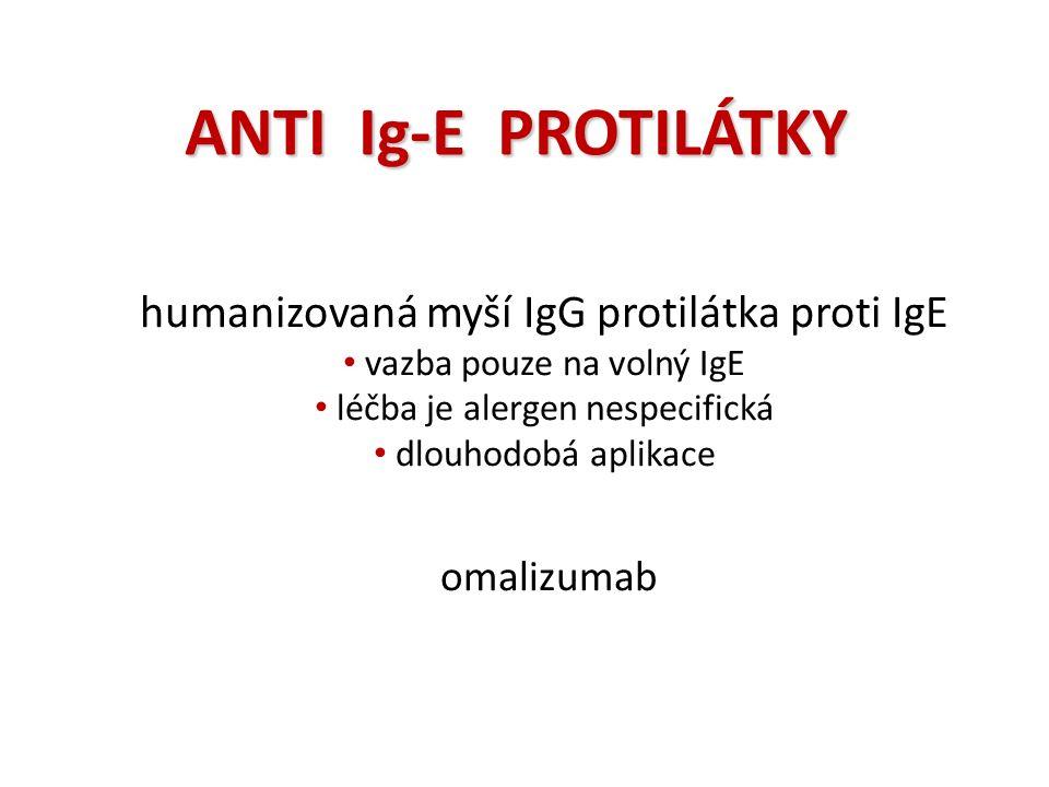 ANTI Ig-E PROTILÁTKY humanizovaná myší IgG protilátka proti IgE vazba pouze na volný IgE léčba je alergen nespecifická dlouhodobá aplikace omalizumab