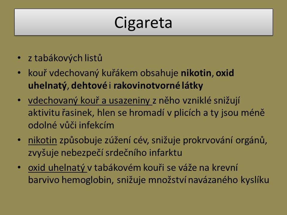 Cigareta z tabákových listů kouř vdechovaný kuřákem obsahuje nikotin, oxid uhelnatý, dehtové i rakovinotvorné látky vdechovaný kouř a usazeniny z něho vzniklé snižují aktivitu řasinek, hlen se hromadí v plicích a ty jsou méně odolné vůči infekcím nikotin způsobuje zúžení cév, snižuje prokrvování orgánů, zvyšuje nebezpečí srdečního infarktu oxid uhelnatý v tabákovém kouři se váže na krevní barvivo hemoglobin, snižuje množství navázaného kyslíku