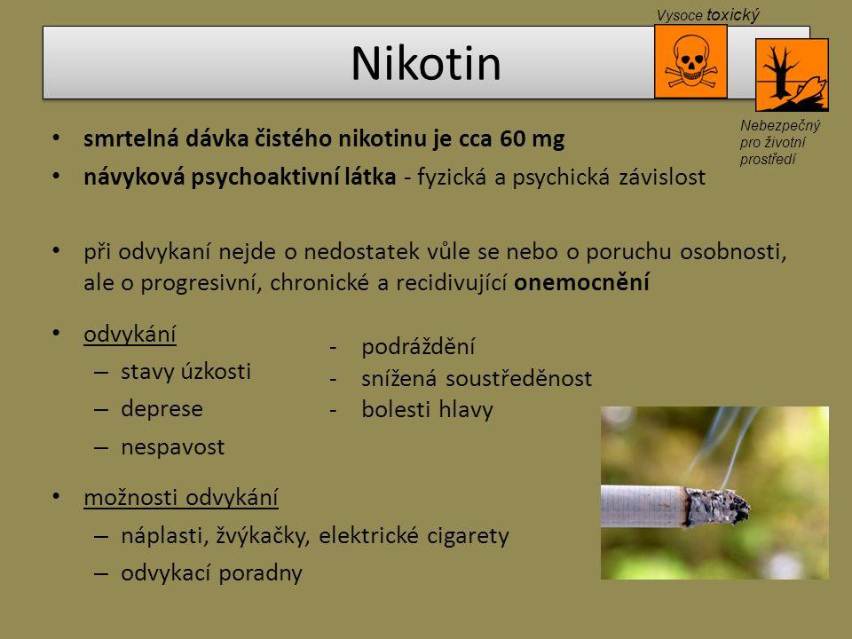 Nikotin smrtelná dávka čistého nikotinu je cca 60 mg návyková psychoaktivní látka - fyzická a psychická závislost při odvykaní nejde o nedostatek vůle
