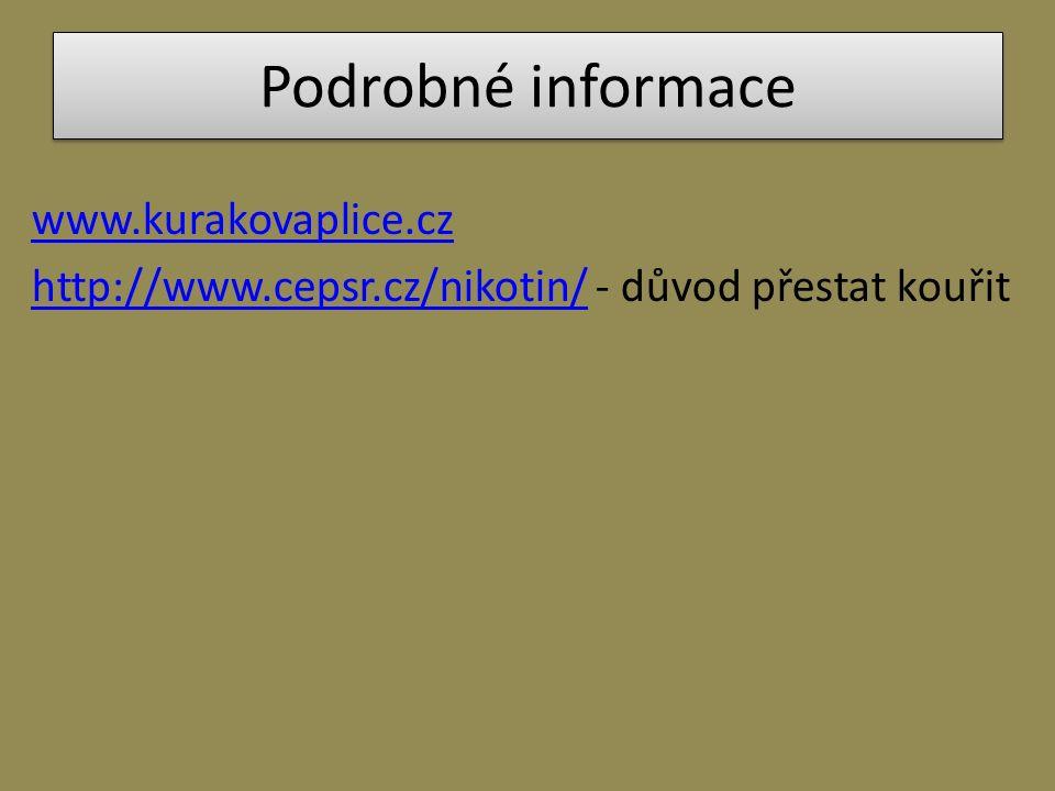 Podrobné informace www.kurakovaplice.cz http://www.cepsr.cz/nikotin/http://www.cepsr.cz/nikotin/ - důvod přestat kouřit