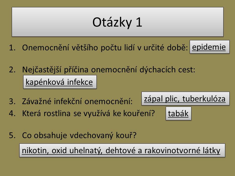 Otázky 1 1.Onemocnění většího počtu lidí v určité době: 2.Nejčastější příčina onemocnění dýchacích cest: 3.Závažné infekční onemocnění: 4.Která rostli