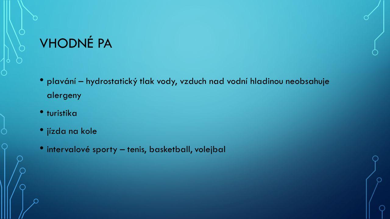 VHODNÉ PA plavání – hydrostatický tlak vody, vzduch nad vodní hladinou neobsahuje alergeny turistika jízda na kole intervalové sporty – tenis, basketball, volejbal