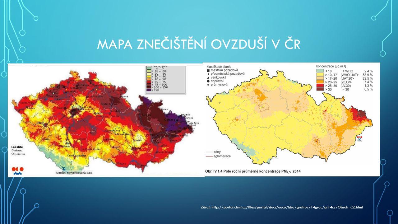 MAPA ZNEČIŠTĚNÍ OVZDUŠÍ V ČR Zdroj: http://portal.chmi.cz/files/portal/docs/uoco/isko/grafroc/14groc/gr14cz/Obsah_CZ.html