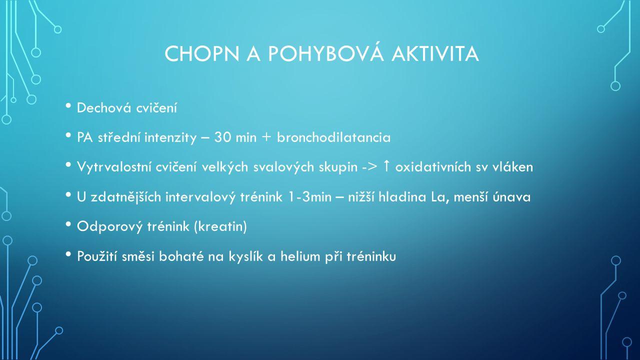 CHOPN A POHYBOVÁ AKTIVITA Dechová cvičení PA střední intenzity – 30 min + bronchodilatancia Vytrvalostní cvičení velkých svalových skupin ->  oxidativních sv vláken U zdatnějších intervalový trénink 1-3min – nižší hladina La, menší únava Odporový trénink (kreatin) Použití směsi bohaté na kyslík a helium při tréninku
