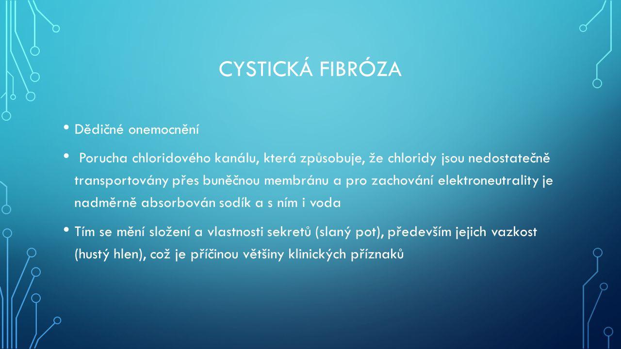 CYSTICKÁ FIBRÓZA Dědičné onemocnění Porucha chloridového kanálu, která způsobuje, že chloridy jsou nedostatečně transportovány přes buněčnou membránu