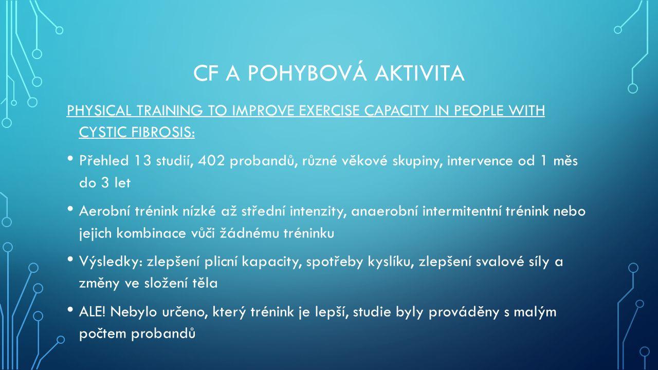 CF A POHYBOVÁ AKTIVITA PHYSICAL TRAINING TO IMPROVE EXERCISE CAPACITY IN PEOPLE WITH CYSTIC FIBROSIS: Přehled 13 studií, 402 probandů, různé věkové sk