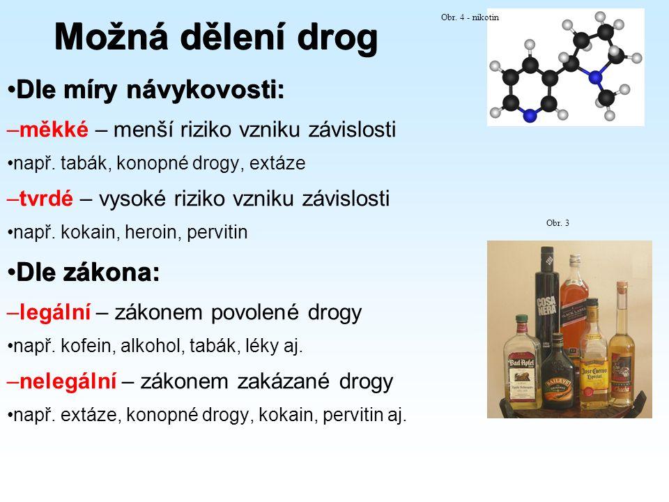 Možná dělení drog Dle míry návykovosti:Dle míry návykovosti: –měkké – menší riziko vzniku závislosti např. tabák, konopné drogy, extáze –tvrdé – vysok
