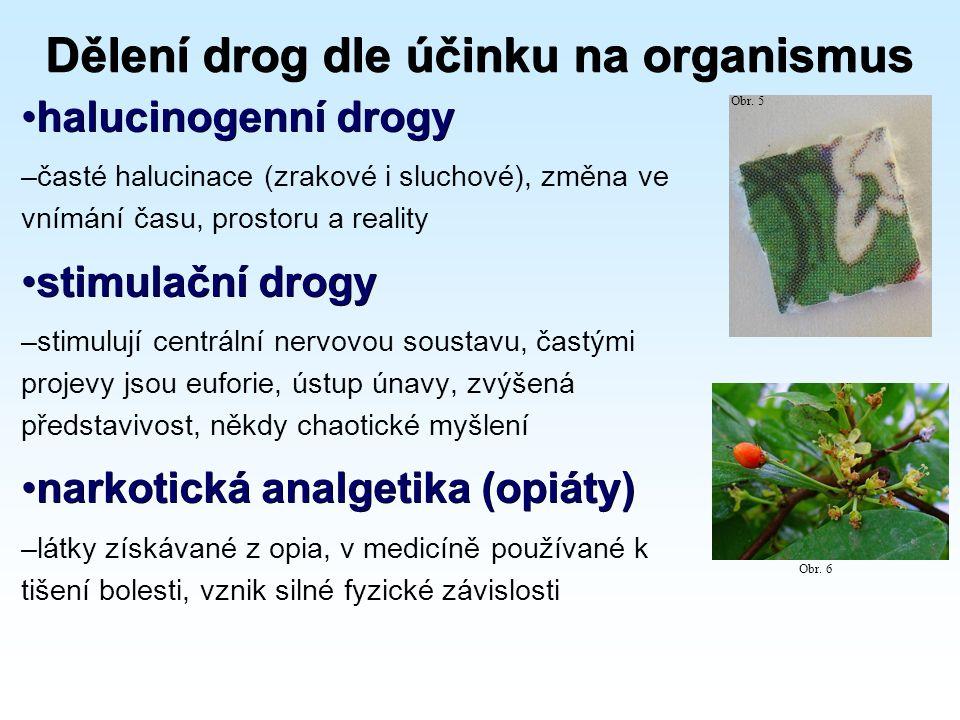 Dělení drog dle účinku na organismus halucinogenní drogyhalucinogenní drogy –časté halucinace (zrakové i sluchové), změna ve vnímání času, prostoru a reality stimulační drogystimulační drogy –stimulují centrální nervovou soustavu, častými projevy jsou euforie, ústup únavy, zvýšená představivost, někdy chaotické myšlení narkotická analgetika (opiáty)narkotická analgetika (opiáty) –látky získávané z opia, v medicíně používané k tišení bolesti, vznik silné fyzické závislosti Obr.