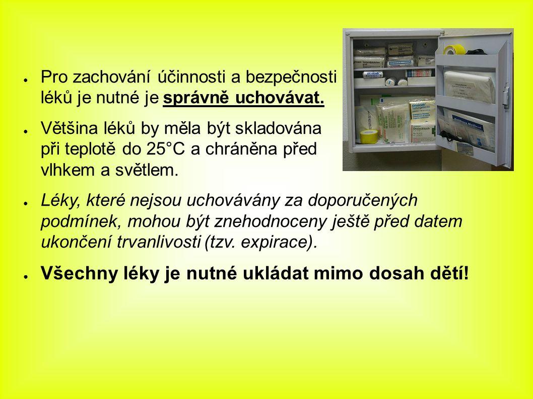 ● Pro zachování účinnosti a bezpečnosti léků je nutné je správně uchovávat. ● Většina léků by měla být skladována při teplotě do 25°C a chráněna před