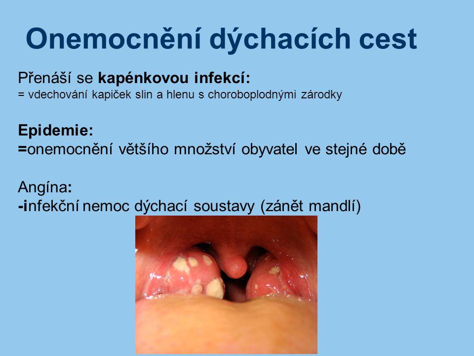 Onemocnění dýchacích cest Přenáší se kapénkovou infekcí: = vdechování kapiček slin a hlenu s choroboplodnými zárodky Epidemie: =onemocnění většího mno