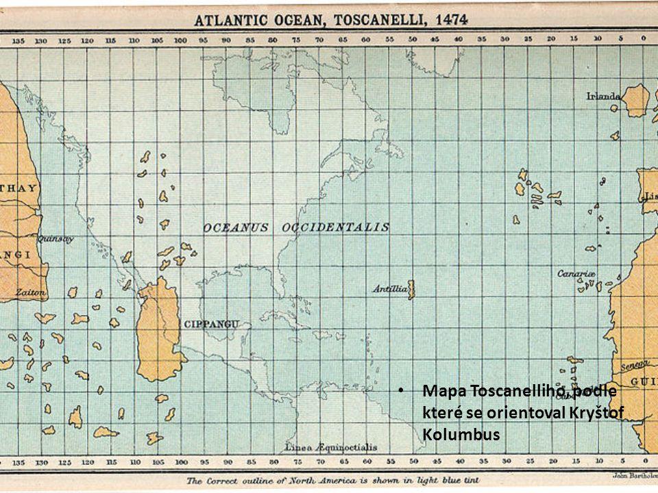Mapa Toscanelliho, podle které se orientoval Kryštof Kolumbus