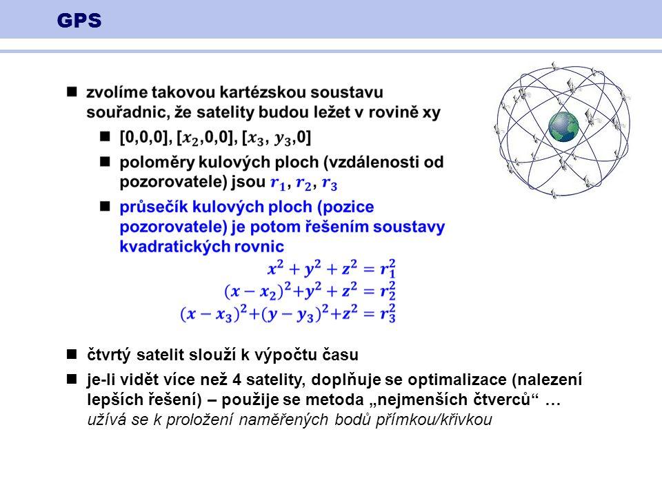 """GPS čtvrtý satelit slouží k výpočtu času je-li vidět více než 4 satelity, doplňuje se optimalizace (nalezení lepších řešení) – použije se metoda """"nejmenších čtverců … užívá se k proložení naměřených bodů přímkou/křivkou"""
