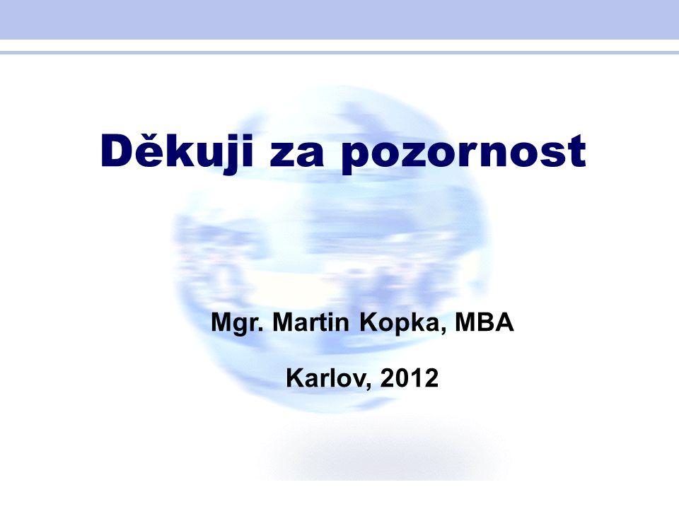 Děkuji za pozornost Mgr. Martin Kopka, MBA Karlov, 2012