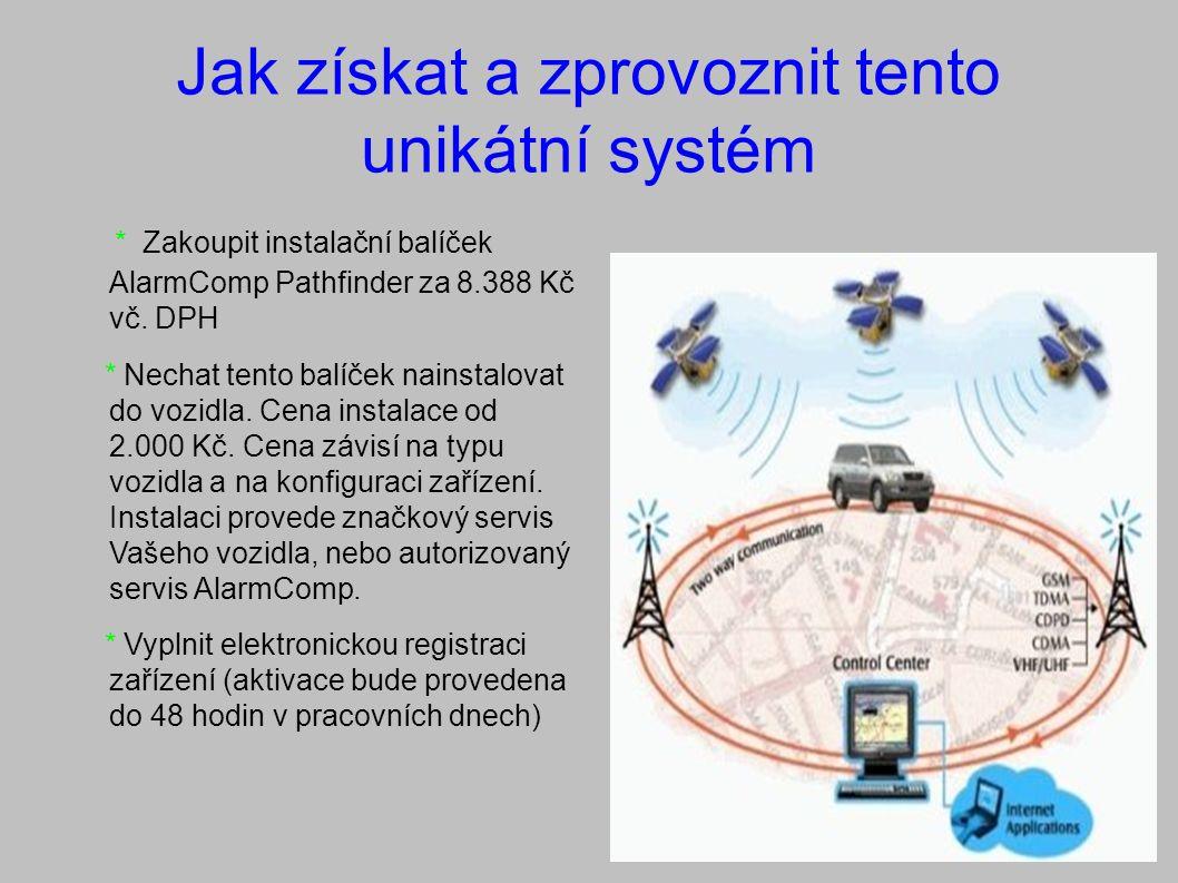 Jak získat a zprovoznit tento unikátní systém * Zakoupit instalační balíček AlarmComp Pathfinder za 8.388 Kč vč.