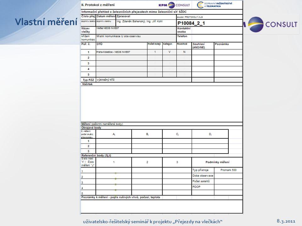 """Vlastní měření 8.3.2011 uživatelsko-řešitelský seminář k projektu """"Přejezdy na vlečkách"""