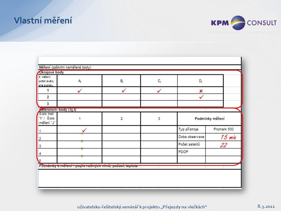 """Vlastní měření 8.3.2011 uživatelsko-řešitelský seminář k projektu """"Přejezdy na vlečkách 15 min  22"""