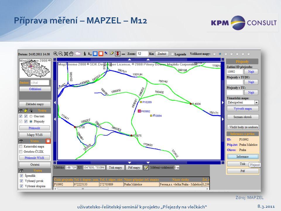 """8.3.2011 uživatelsko-řešitelský seminář k projektu """"Přejezdy na vlečkách Příprava měření – MAPZEL – M12 Zdroj: MAPZEL"""