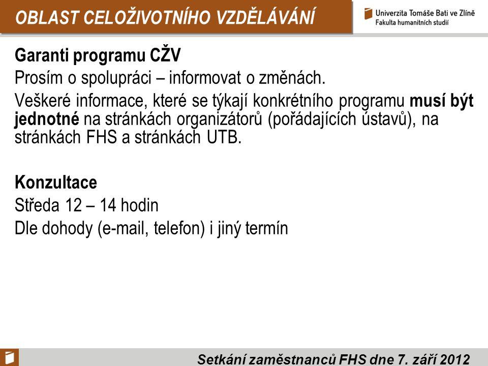 OBLAST CELOŽIVOTNÍHO VZDĚLÁVÁNÍ Garanti programu CŽV Prosím o spolupráci – informovat o změnách. Veškeré informace, které se týkají konkrétního progra