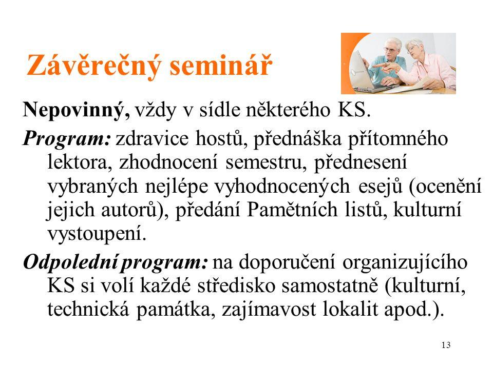 13 Závěrečný seminář Nepovinný, vždy v sídle některého KS.