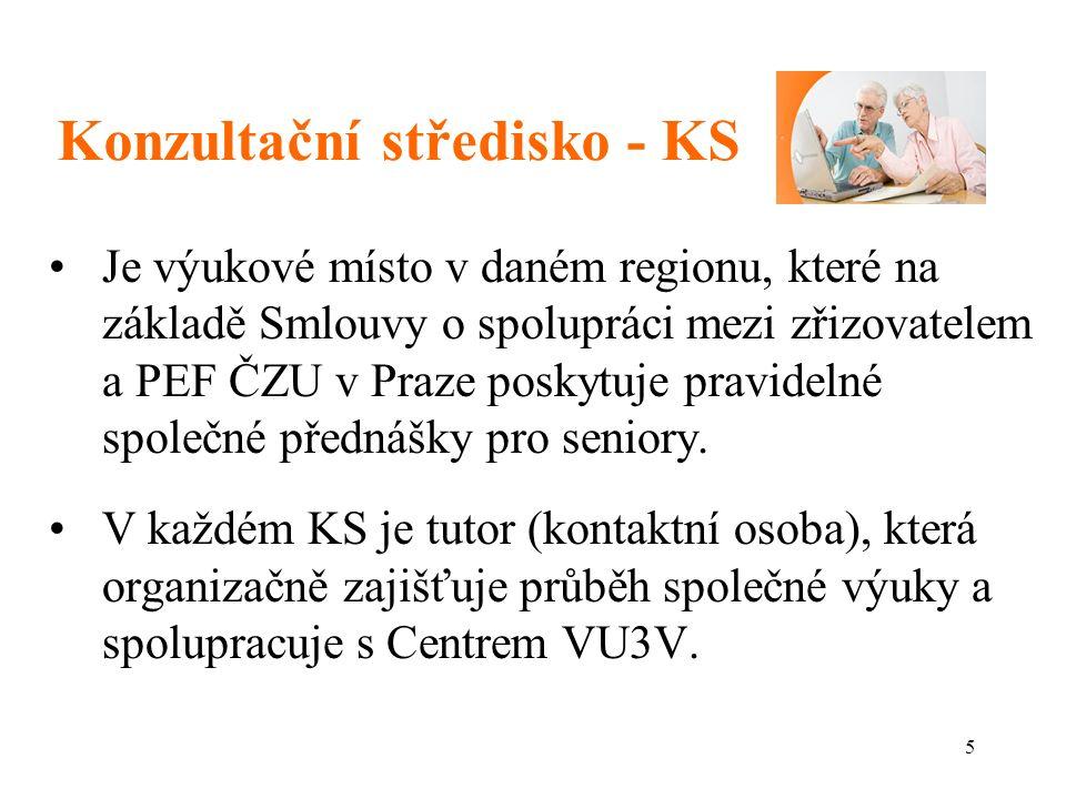 5 Konzultační středisko - KS Je výukové místo v daném regionu, které na základě Smlouvy o spolupráci mezi zřizovatelem a PEF ČZU v Praze poskytuje pravidelné společné přednášky pro seniory.