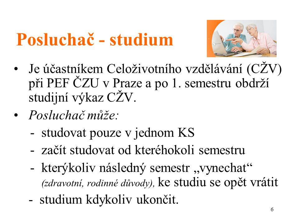 6 Posluchač - studium Je účastníkem Celoživotního vzdělávání (CŽV) při PEF ČZU v Praze a po 1.