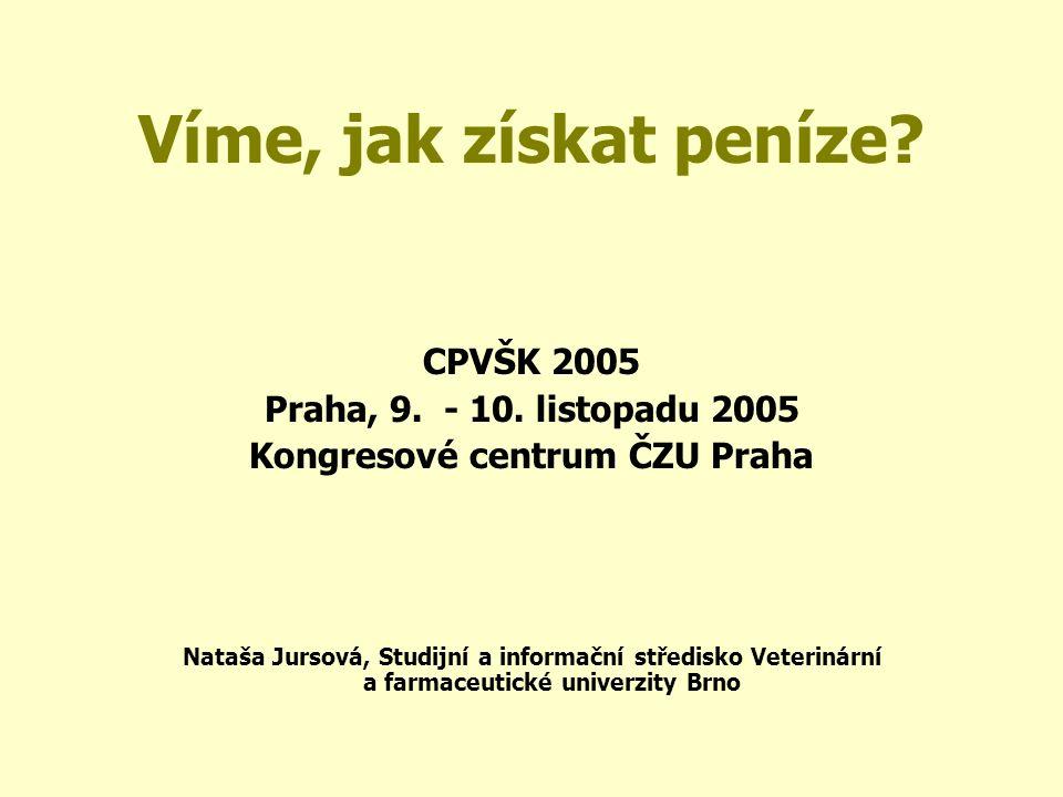 Víme, jak získat peníze.CPVŠK 2005 Praha, 9. - 10.