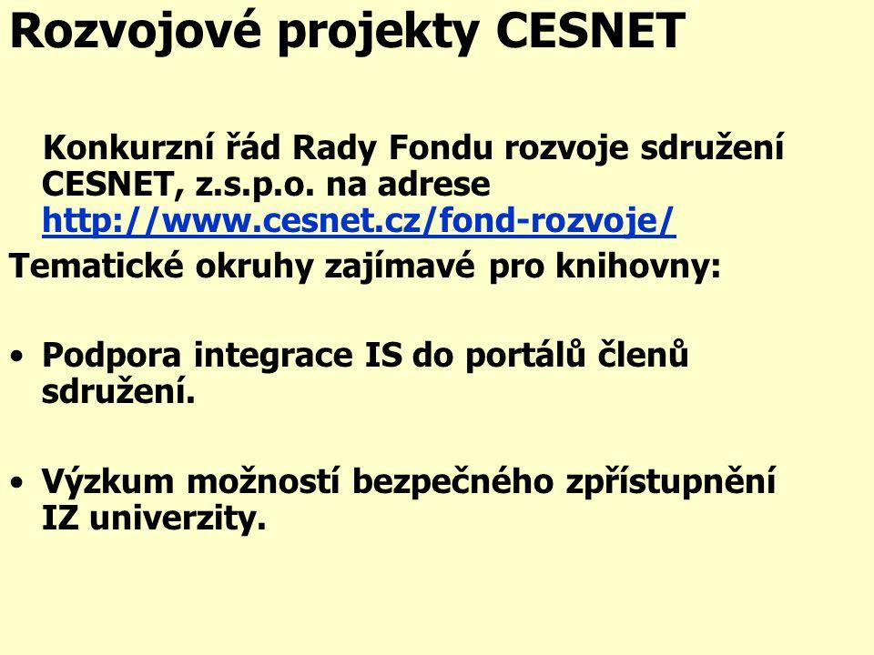 Rozvojové projekty CESNET Konkurzní řád Rady Fondu rozvoje sdružení CESNET, z.s.p.o.