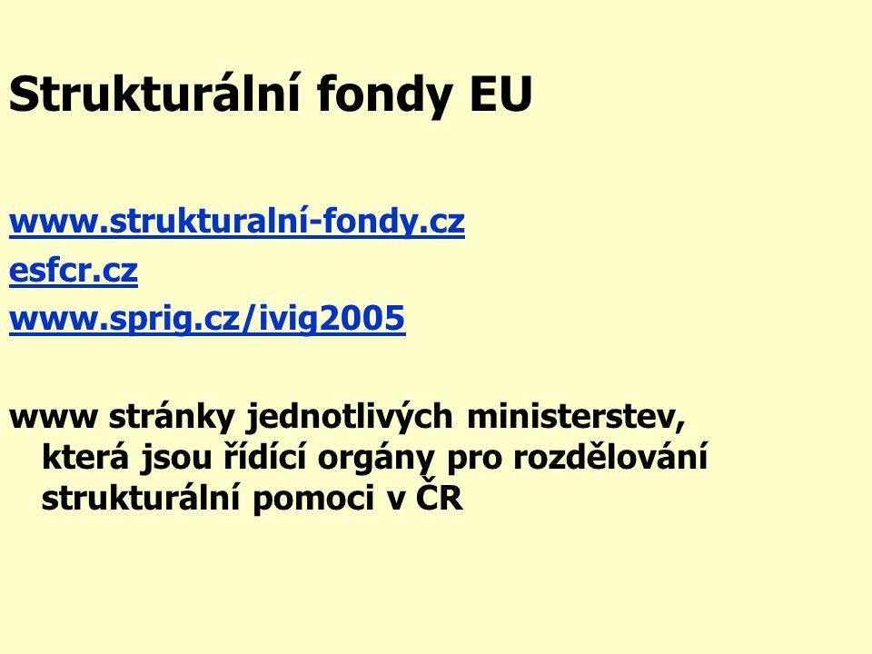 Strukturální fondy EU www.strukturalní-fondy.cz esfcr.cz www.sprig.cz/ivig2005 www stránky jednotlivých ministerstev, která jsou řídící orgány pro rozdělování strukturální pomoci v ČR