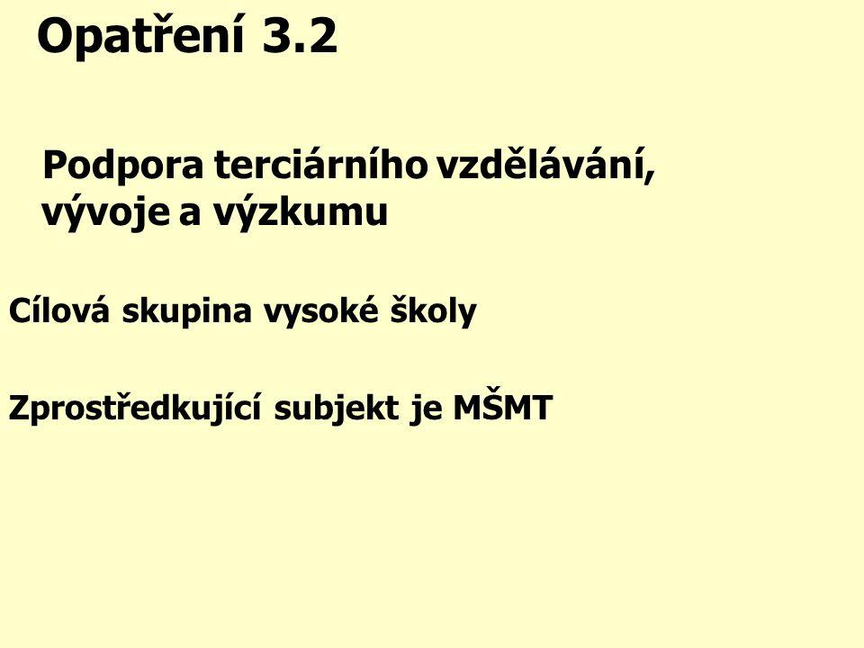 Opatření 3.2 Podpora terciárního vzdělávání, vývoje a výzkumu Cílová skupina vysoké školy Zprostředkující subjekt je MŠMT