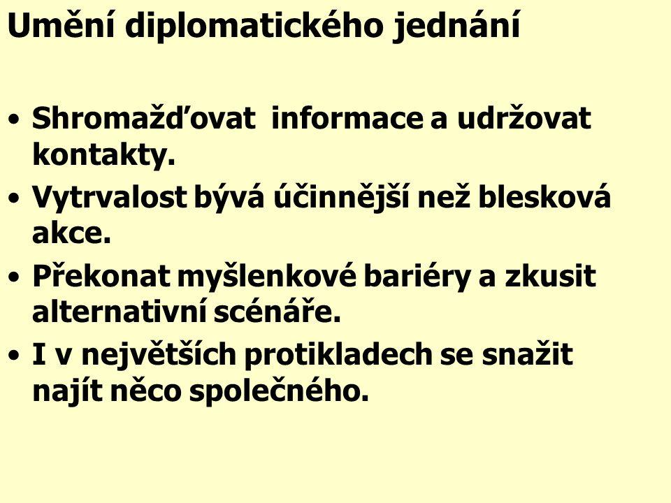 Umění diplomatického jednání Shromažďovat informace a udržovat kontakty.