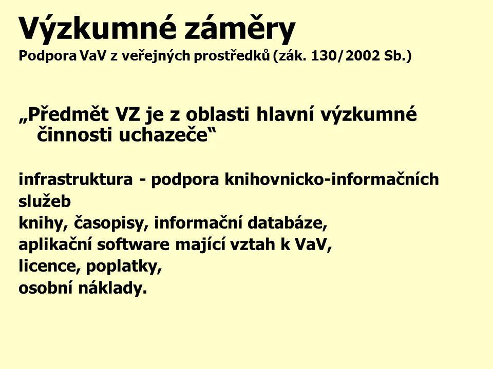 Výzkumné záměry Podpora VaV z veřejných prostředků (zák.