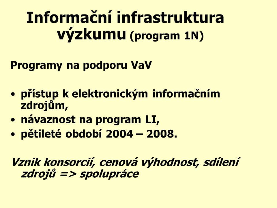 Informační infrastruktura výzkumu (program 1N) Programy na podporu VaV přístup k elektronickým informačním zdrojům, návaznost na program LI, pětileté období 2004 – 2008.
