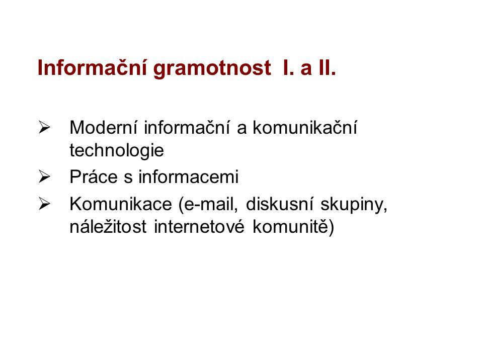 Informační gramotnost I.a II.