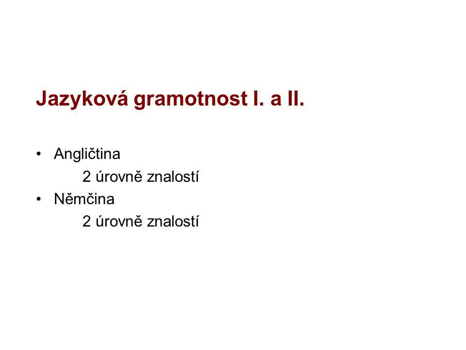 Jazyková gramotnost I. a II. Angličtina 2 úrovně znalostí Němčina 2 úrovně znalostí