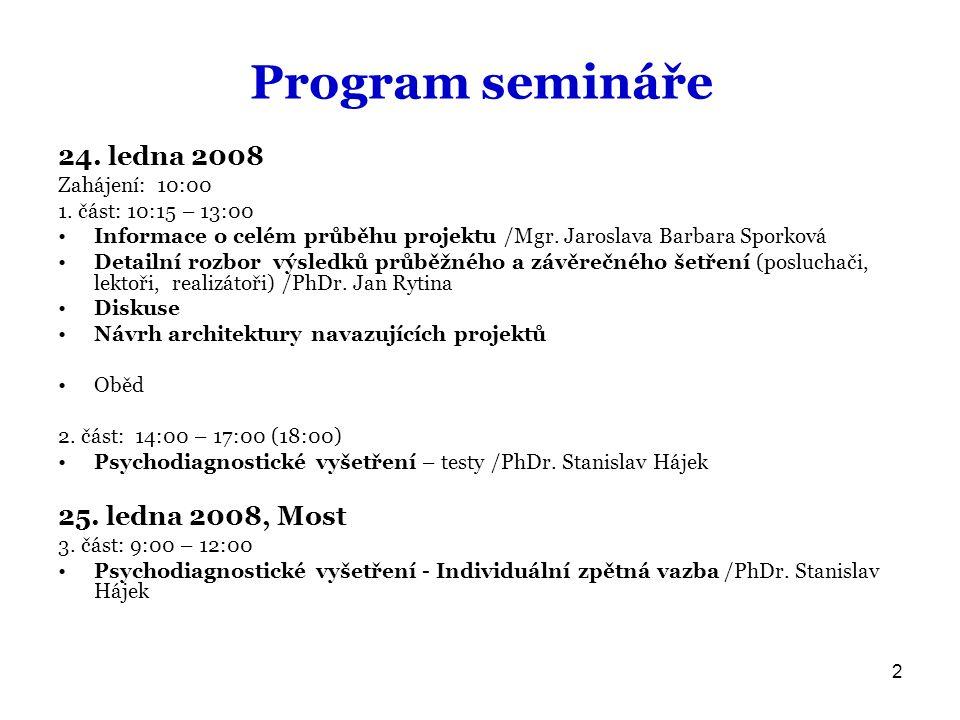2 Program semináře 24.ledna 2008 Zahájení: 10:00 1.