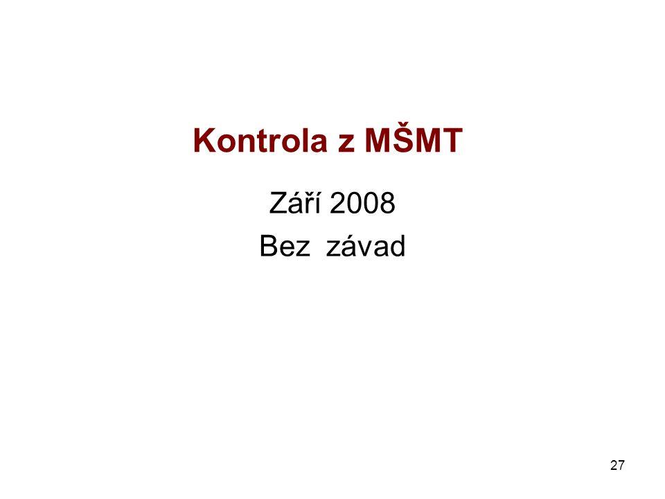 27 Kontrola z MŠMT Září 2008 Bez závad