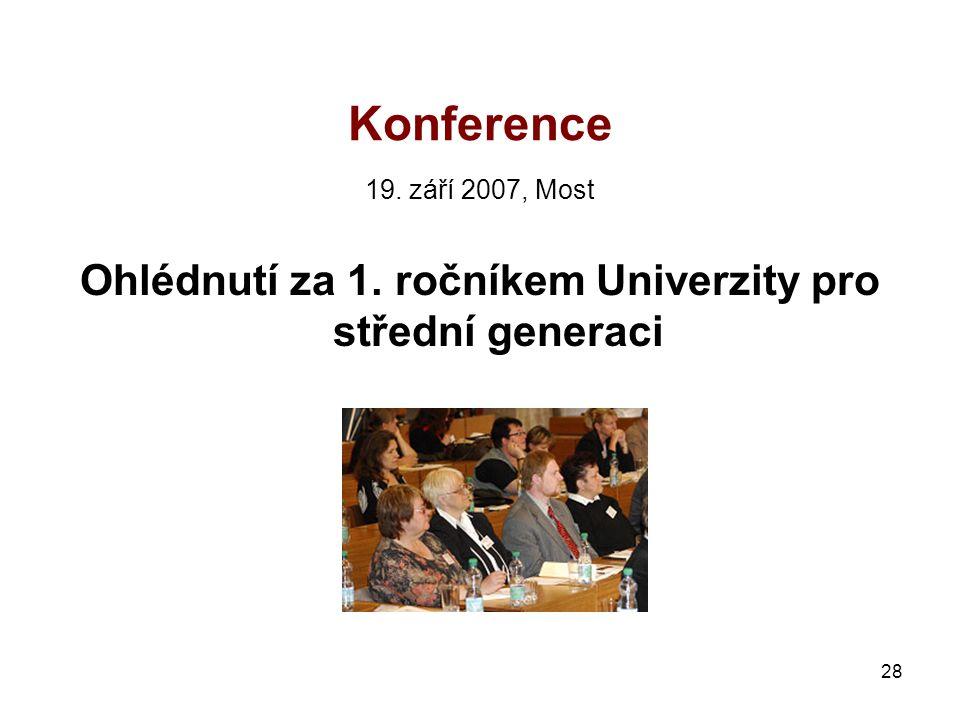 28 Konference 19. září 2007, Most Ohlédnutí za 1. ročníkem Univerzity pro střední generaci