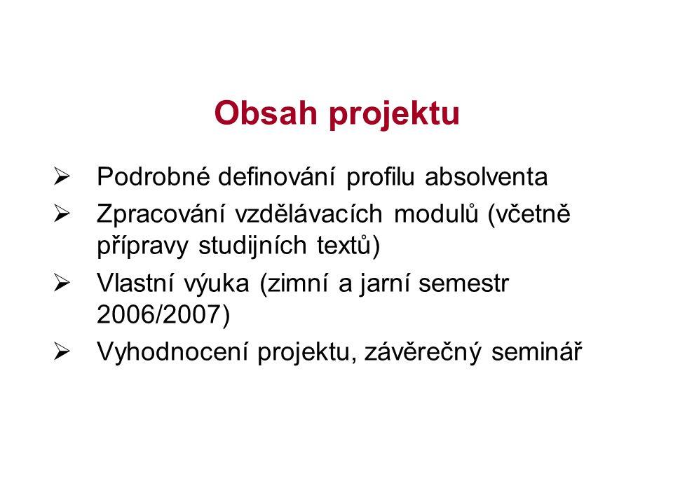 Obsah projektu  Podrobné definování profilu absolventa  Zpracování vzdělávacích modulů (včetně přípravy studijních textů)  Vlastní výuka (zimní a jarní semestr 2006/2007)  Vyhodnocení projektu, závěrečný seminář