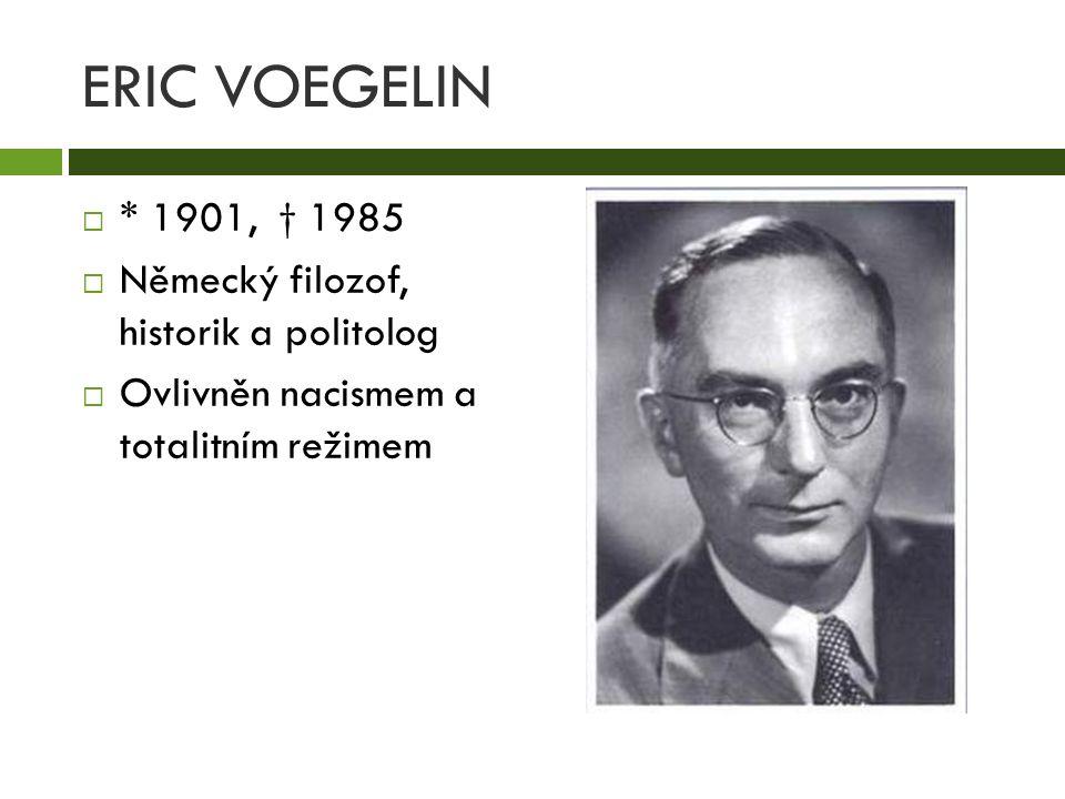 ERIC VOEGELIN  * 1901, † 1985  Německý filozof, historik a politolog  Ovlivněn nacismem a totalitním režimem