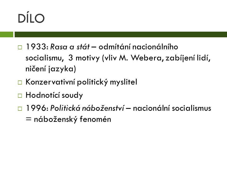 DÍLO  1933: Rasa a stát – odmítání nacionálního socialismu, 3 motivy (vliv M. Webera, zabíjení lidí, ničení jazyka)  Konzervativní politický myslite
