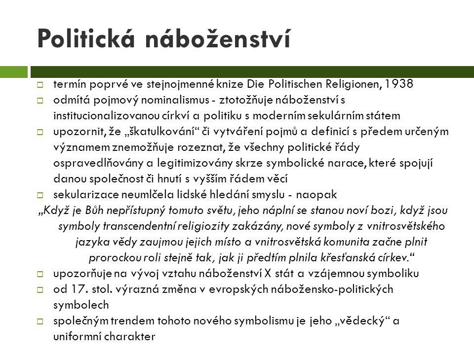 Politická náboženství  termín poprvé ve stejnojmenné knize Die Politischen Religionen, 1938  odmítá pojmový nominalismus - ztotožňuje náboženství s